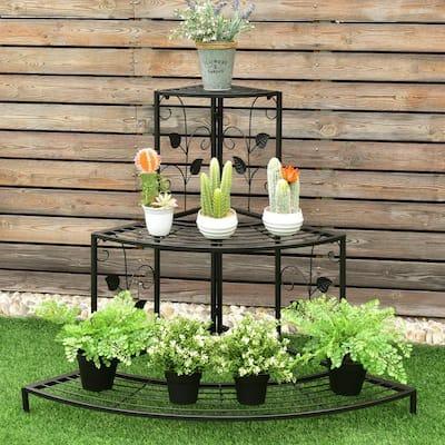 42 in. L x 30 in. W x 34 in. H Shelves Indoor/Outdoor Black Steel Floral Corner Plant Stand(3-Tier)