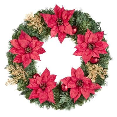 24 in Silk Poinsettia Artificial Christmas Wreath with Gold Fern Sprigs and Pinecones