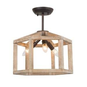 3-Light Brown Iron and Birch Frame Wooden and Rustic Accents Semi Flush Mount Light