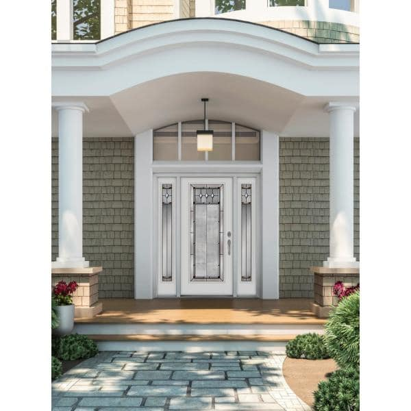 Jeld Wen 66 In X 80 In Full Lite Mission Prairie Primed Steel Prehung Left Hand Inswing Front Door With Sidelites H31396 The Home Depot