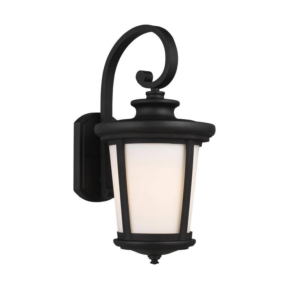 Sea Gull Lighting Eddington 1 Light Black Outdoor Wall Lantern 8719301en3 12 The Home Depot