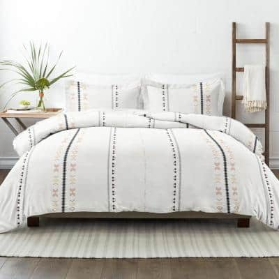 Clay Natural Geo Lines Print 3-Piece Twin/Twin Extra Long Duvet Cover Set