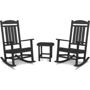 Pineapple Cay 3-Piece All-Weather Black Plastic Patio Rocking Chair Set