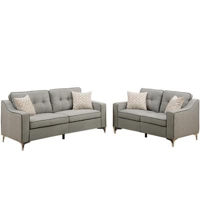 Campania 2-Piece Light Gray Polyfiber Sofa Set