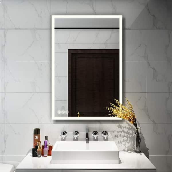 Boyel Living 24 In W X 36 In H Frameless Rectangular Led Light Bathroom Vanity Mirror Kf Mc04 2436sf1 The Home Depot