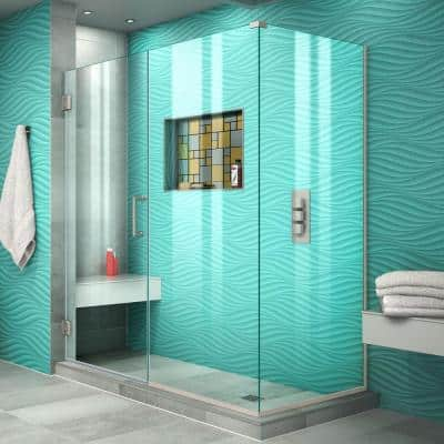 Unidoor Plus 58 in. W x 34-3/8 in. D x 72 in. H Frameless Hinged Shower Enclosure in Brushed Nickel