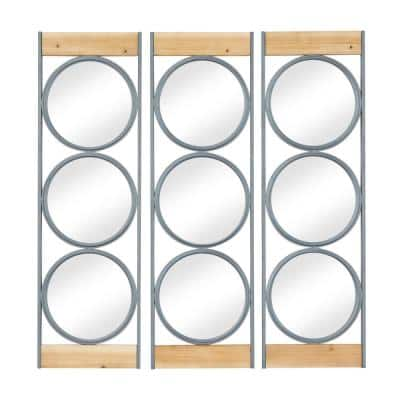 11 in. x 1 in. Black Iron Industrial Wall Mirror (Set of 3)