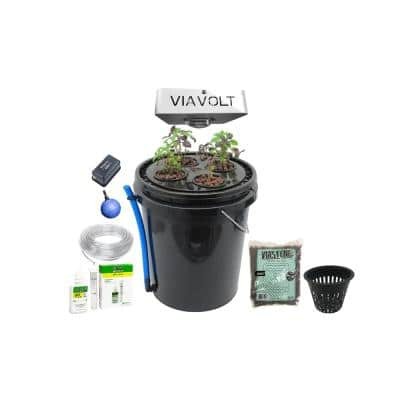 Hydroponic 4-Plant Site Deep Water Culture System with 65-Watt LED Grow Light