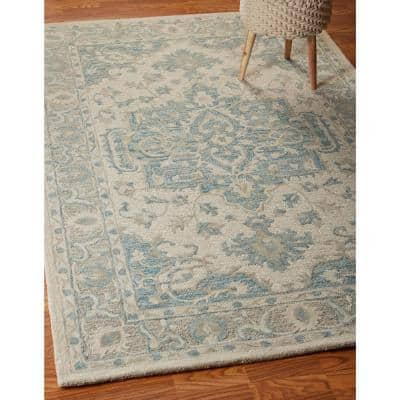 Parampara Persian Turquoise / Gray 9 ft. x 12 ft. Indoor Area Rug