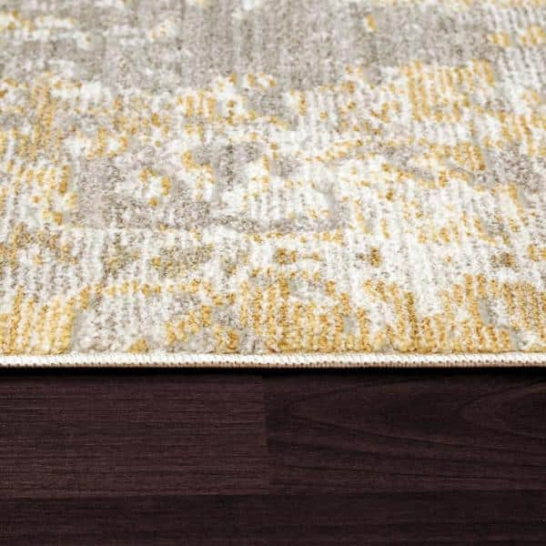 Dynamic Rugs Mood Yellow 9 Ft X 12 Ft 7 In Abstract Polyester Area Rug Mz10148452800 The Home Depot