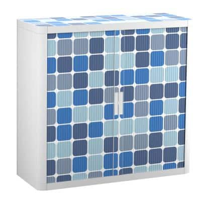Paperflow easyOffice 41 in. Tall with 2-Shelves Storage Cabinet in Blue Squares