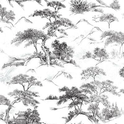 Black and White Oriental Toile Peel and Stick Wallpaper (Covers 28.29 sq. ft.)