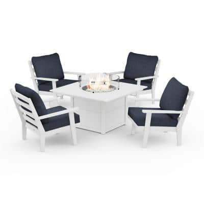 Grant Park White 5-Piece Plastic Patio Deep Seating Conversation Set with Fire Pit Table with Stone Blue Cushions