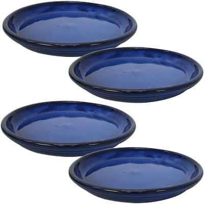 12 in. Imperial Blue Ceramic Planter Saucer (Set of 4)