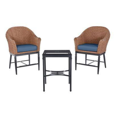 Camden Seagrass Light Brown 3-Piece Wicker Outdoor Patio Balcony Height Bistro Set with CushionGuard Sky Blue Cushions