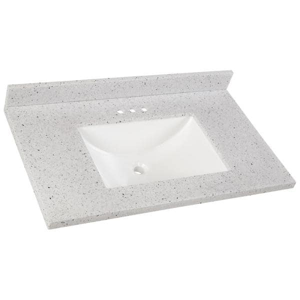 Home Decorators Collection 37 In Solid Surface Vanity Top In Silver Ash With White Sink Ss37r Ah The Home Depot