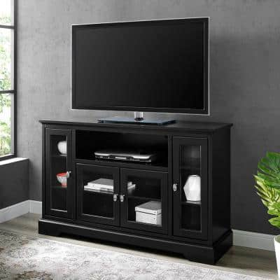 Highboy 52 in. Black Composite TV Stand 55 in. with Doors