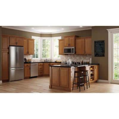 Hampton Assembled 36x34.5x24 in. Blind Base Corner Kitchen Cabinet in Medium Oak