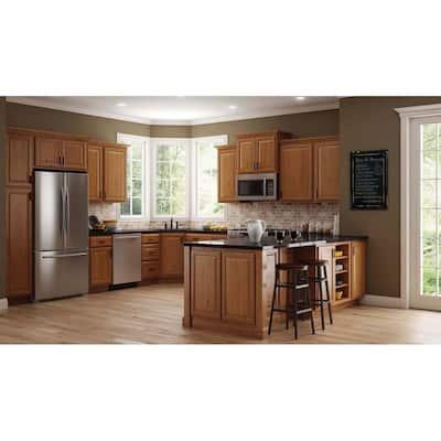 Hampton Medium Oak Raised Panel Stock Assembled Lazy Susan Corner Base Kitchen Cabinet (28.5 in. x 34.5 in. x 16.5 in.)