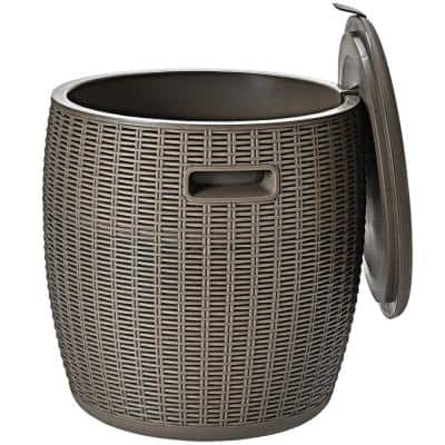 12-Gal Patio Ice Cooler Bucket Cool Bar Table Cocktail Side Table w/Lid Brown