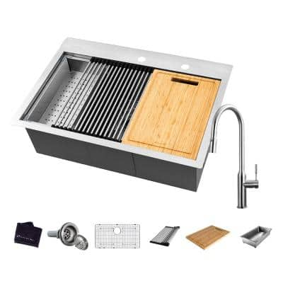 All-in-One 18 Gauge Stainless Steel 27 in. Single Bowl R0 Drop-In Workstation Kitchen Sink with Faucet and Accessories