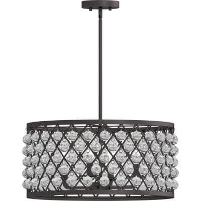 4-Light Indoor A. Bronze Drum Cylinder Pendant Chandelier & Orb Sphere Globe Glass Beads Balls Poms Accents & Candelabra