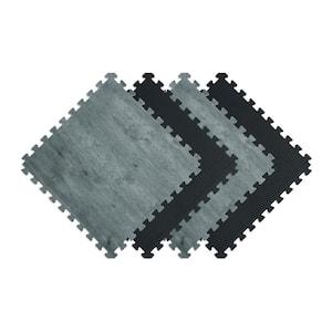 Reversible Charcoal/Black Faux Wood 24 in. x 24 in. x 0.47 in. Foam Mats (4-Pack)