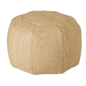 Deluxe Natural Comfort-Knit Round Outdoor Pouf