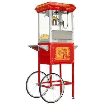 8oz Premium Red Silver Popcorn Popper Machine Maker Cart