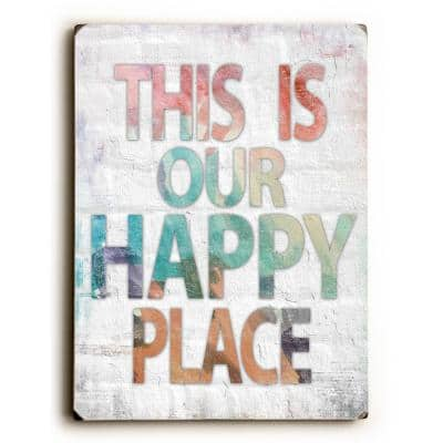 """9 in. x 12 in. """"This is Our Happy Place"""" by Misty Diller """"Solid Wood"""" Wall Art"""