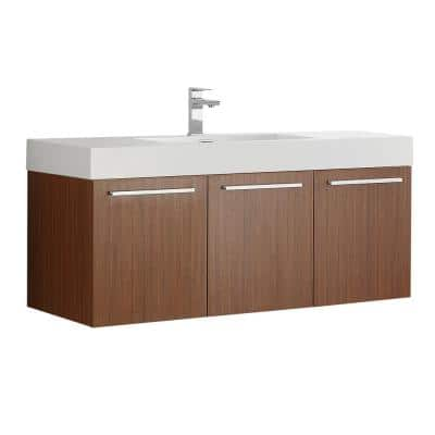 Vista 48 in. Modern Wall Hung Bath Vanity in Teak with Vanity Top in White with White Basin