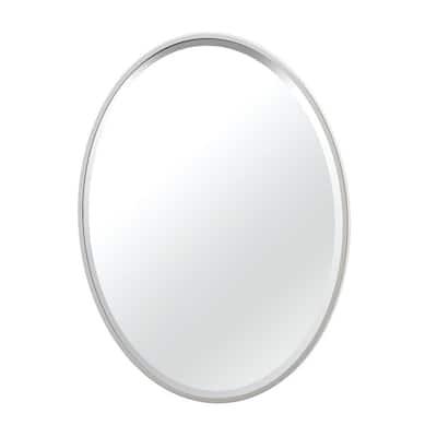 Flush 25 in. W x 33 in. H Framed Oval Beveled Edge Bathroom Vanity Mirror in Satin Nickel