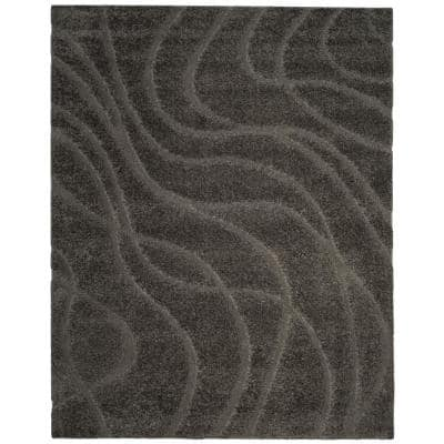Florida Shag Gray 9 ft. x 12 ft. Solid Area Rug