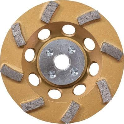 4-1/2 in. Turbo 8 Segment Diamond Cup Wheel, Low-Vibration, Compatible with Angle Grinders with electronic controller