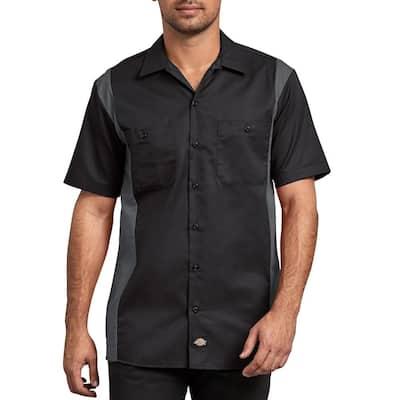 Men's Black Charcoal 2-Tone Short Sleeve Work Shirt