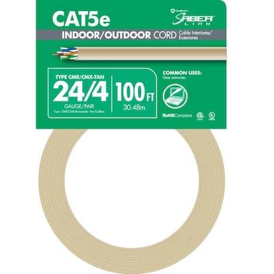 100 ft. Tan 24/4 CAT5e CMR-CMX Indoor/Outdoor Data Cable