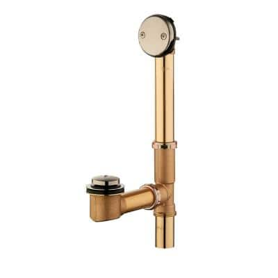 Easy Touch 1-1/2 in. 20-Gauge Brass Pipe Bath Waste and Overflow Drain in Brushed Nickel