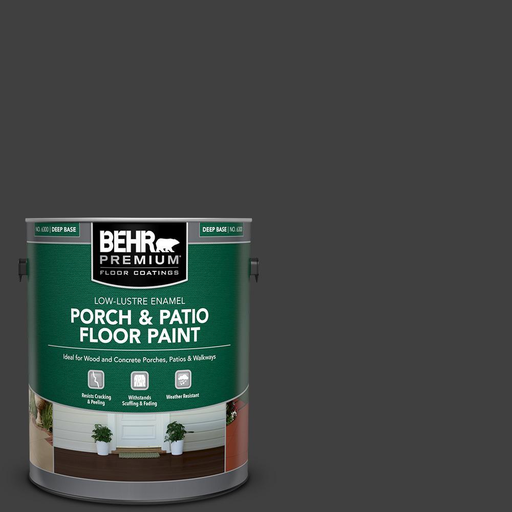 1 gal. #1350 Ultra Pure Black Low-Lustre Enamel Interior/Exterior Porch and Patio Floor Paint