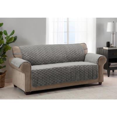 Fairmont Grey 1-piece Diamond Plush XL Sofa Furniture Cover