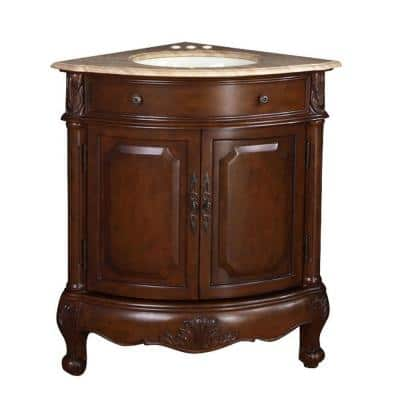 32 in. W x 23 in. D Vanity in Cherry with Stone Vanity Top in Travertine with White Basin