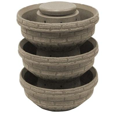 24 in. Sandstone Plastic English Composting Garden (3-Pack)
