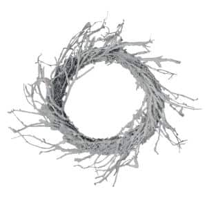 24 in. Unlit Snow Flocked and Iridescent Glitter Twig Artificial Christmas Wreath