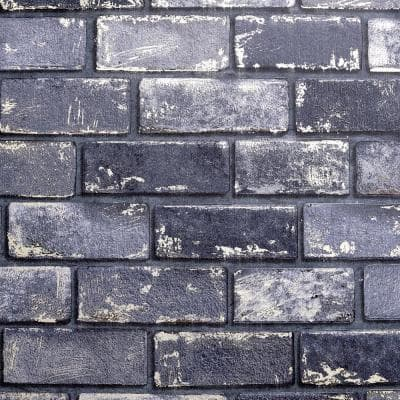 Metallic Brick Navy and Gold Peel and Stick Non-Woven Paper Wallpaper