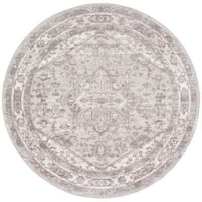 Brentwood Cream/Gray 5 ft. x 5 ft. Round Area Rug