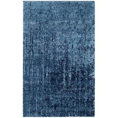 Retro Light Blue/Blue 3 ft. x 4 ft. Area Rug