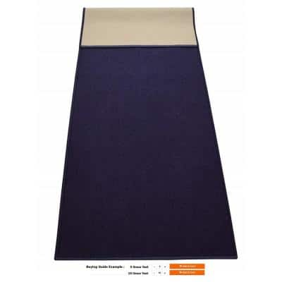 Rubber Collection Solid Navy Blue 22 in. Width x Your Choice Length Custom Size Runner Rug