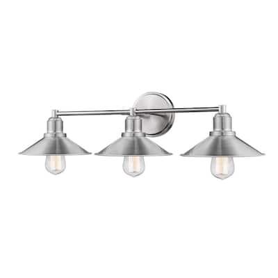 Cortez 3-Light Brushed Nickel Bath Light with Brushed Nickel Steel Shade