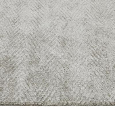 Chevelle Contemporary Modern Bone 9 ft. x 12 ft. Hand-Knotted Area Rug