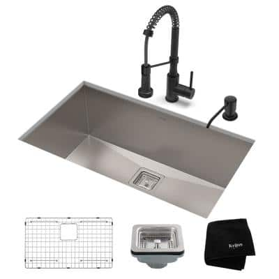 Pax All-in-One Undermount Stainless Steel 28 in. Single Bowl Kitchen Sink with Faucet in Matte Black