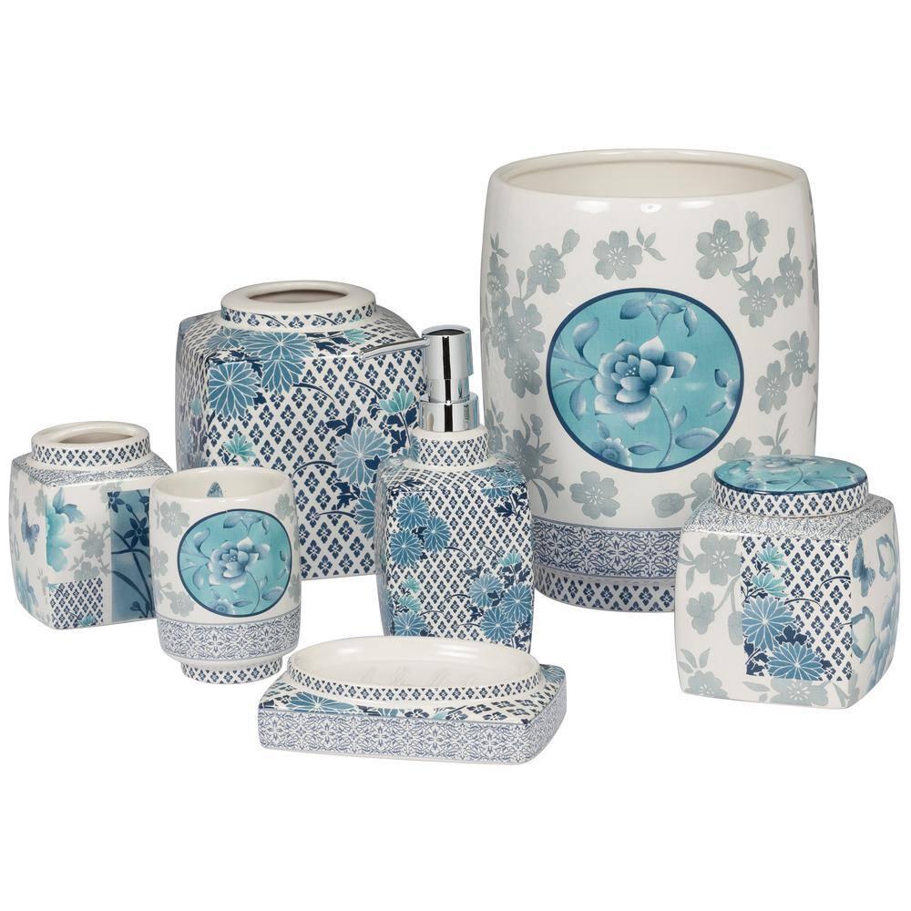 Creative Bath Ming 7 Piece, Green And Blue Bathroom Accessories
